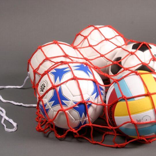 Plasa pentru transport mingi cu 5 mingi pentru diverse sporturi