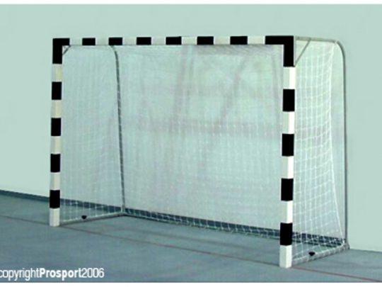 Poarta handbal din lemn cu fixare pe teren alb cu negru si cu plasa