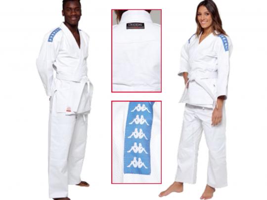 Judo-gi KAPPA Barcellona imbracat de o femeie si un barbat si detaliu logouri