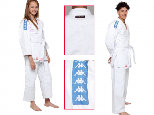 Judo-gi KAPPA Los Angeles imbracat de o femeie si un barbat si detaliu logouri