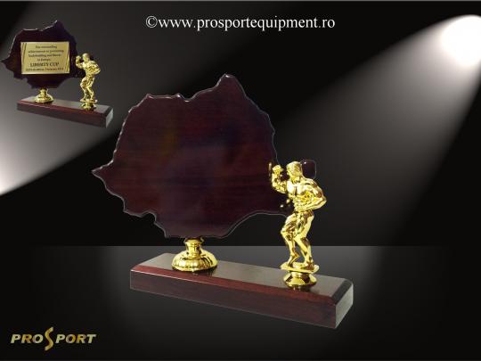 """Trofeul TR38 """"Romania"""" cu figurina pentru culturism"""