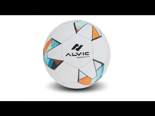minge fotbal Alvic Boomerang alba cu design colorat