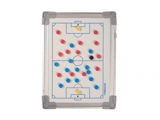 tabla tactica fotbal magnetica cu pioni rosii si albastrii